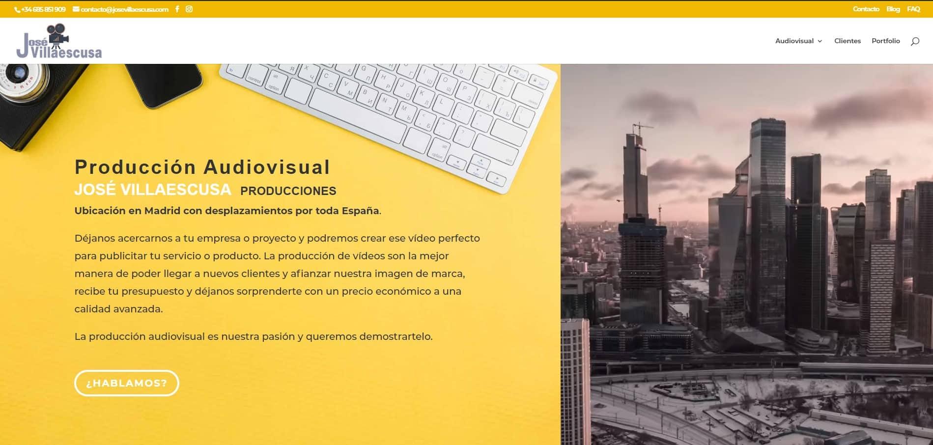 Página web principal José Villaescusa Producciones Audiovisuales web de vídeo y web de fotografía